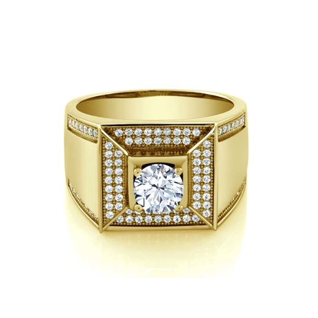 - 1.94 Ct Round White Zirconia 18K Yellow Gold Plated Silver Men's Ring
