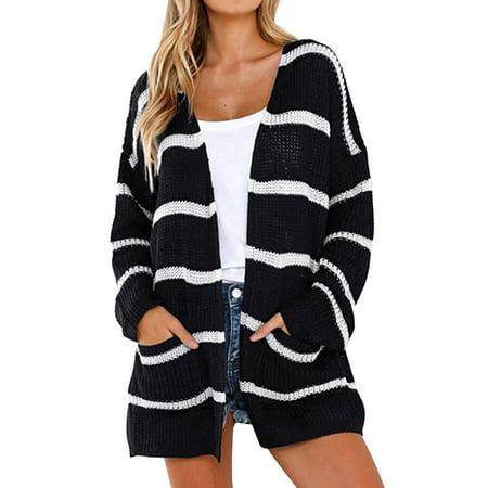 729258b24c 711ONLINESTORE - 711ONLINESTORE Women Long Sleeve Striped Pocket Knitted  Open Front Cardigan Sweater - Walmart.com