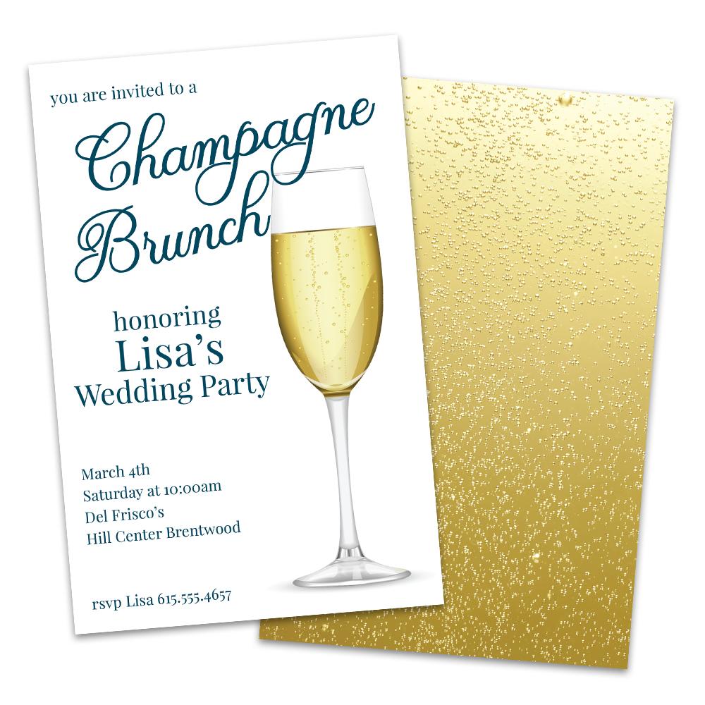 Personalized Champagne Brunch Bridal Luncheon Invitation