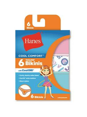 Hanes Girls' Cool Comfort Bikini Underwear, 6 Pack Panties (Little Girls & Big Girls)