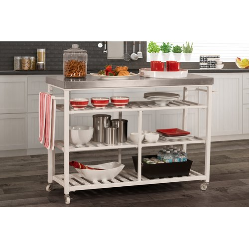 August Grove Geary Kitchen Island with Stainless Steel Top