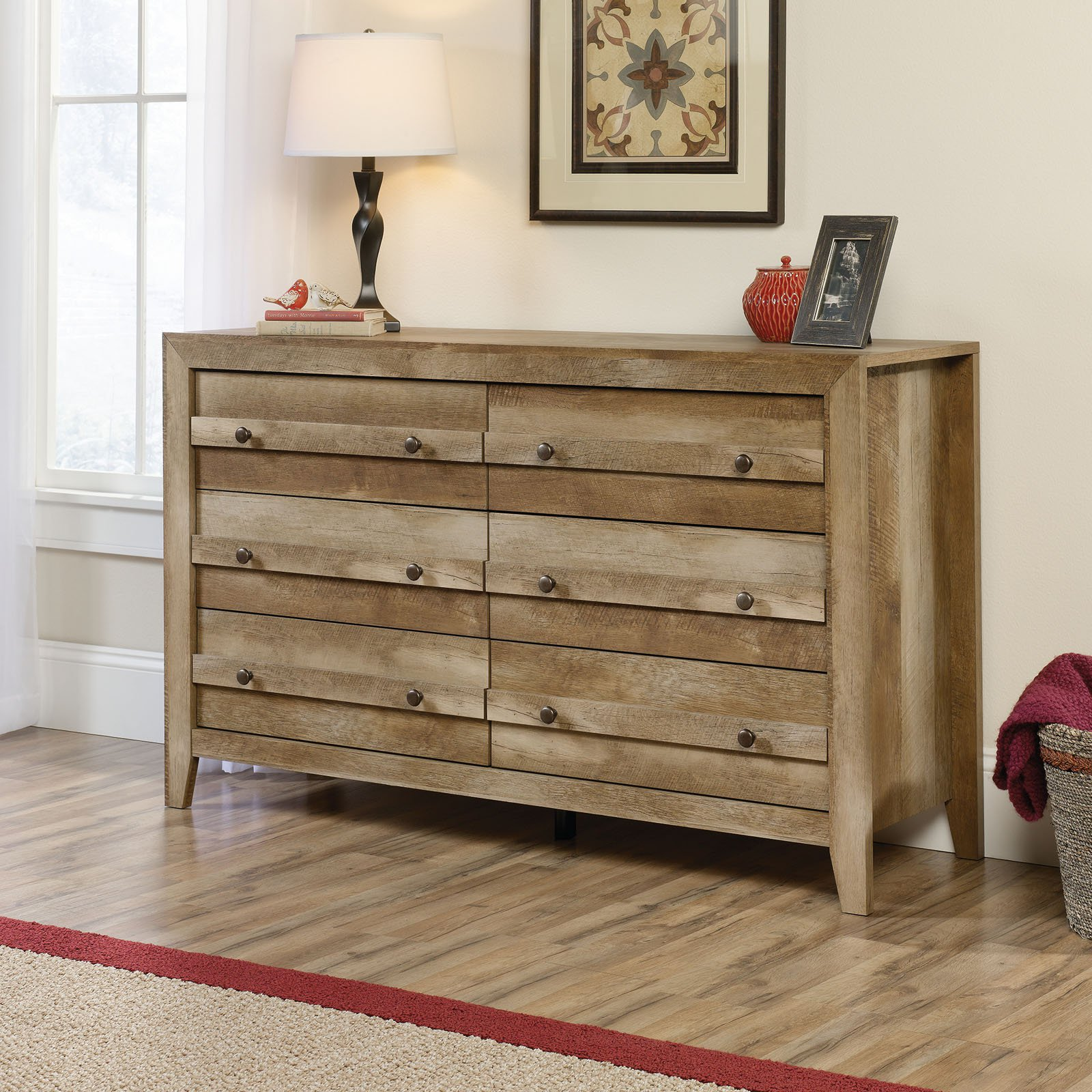 Sauder Dakota Pass 6-Drawer Dresser, Craftsman Oak Finish