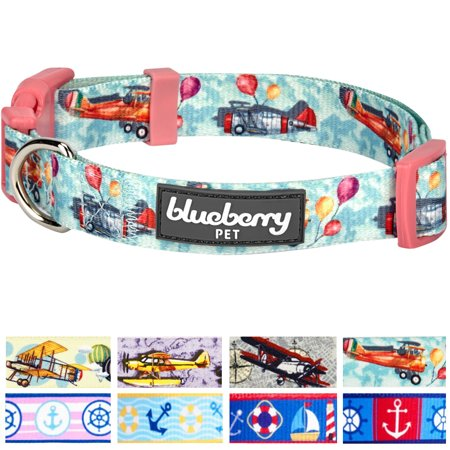 Blueberry Pet Aviation Dream High Airplane & Balloon Designer Dog Collar in Eton Blue, Large, Neck 18
