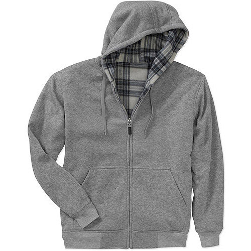 Men's Reversible Fleece Hoodie With Plaid Lining