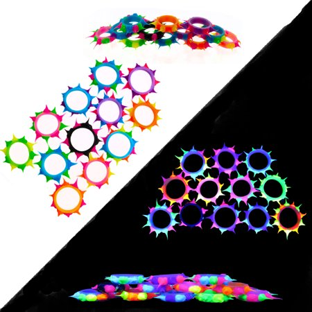 Blacklight Reactive Jewelry Accessories for Women Men Girls Boys 48 Silicone Rave Stretch Spiky Rings - UV Black Light Fun - Great for Party Favors (Blacklight Reactive)