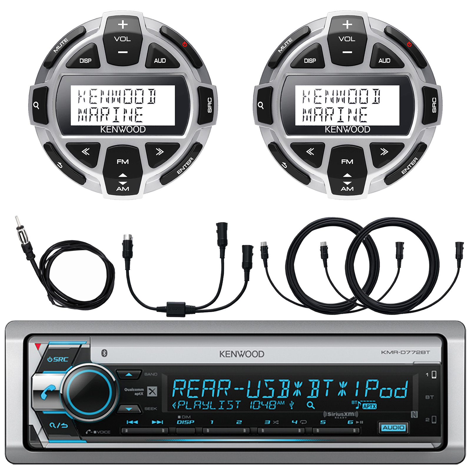 """Kenwood Single DIN Marine Boat Yacht USB CD Player Bluetooth Stereo Receiver, 2x Kenwood Digital LCD Display Wired Remote, 40"""" AM/FM Antenna, Y-Cable Splitter Adapter, 2x 7-Meter 22 Ft Extension"""