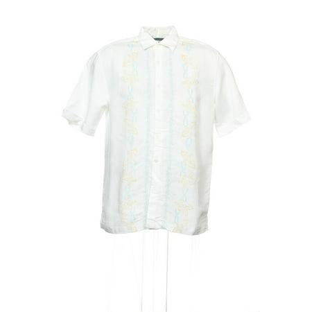Cubavera White Floral Camp Shirt , Size Medium