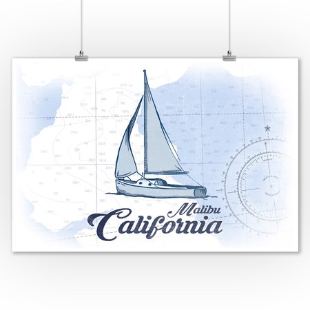Malibu  California   Sailboat   Blue   Coastal Icon   Lantern Press Artwork  9X12 Art Print  Wall Decor Travel Poster