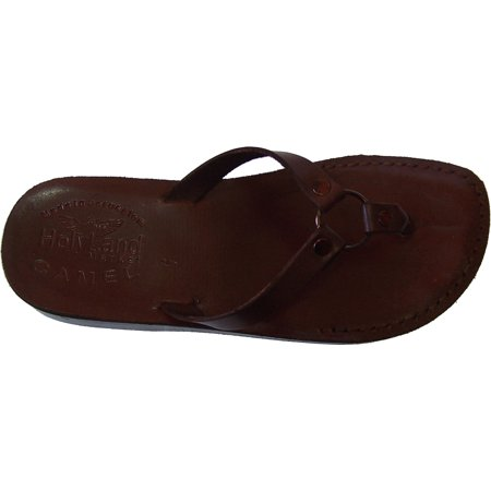 Holy Land Market Women/Girls Genuine Leather Biblical Flip flops (Jesus - Yashua) Jericho Style II ()