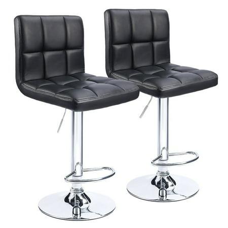 UBesGoo Bar Stools Swivel PU Leather Stool Chair with Back Adjustable Kitchen Island Counter Height Swivel Bar Stool (Black Set of (Counter Height Kitchen Stools)