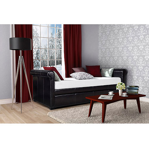 dhp giada upholstered faux leather daybed and trundle brown