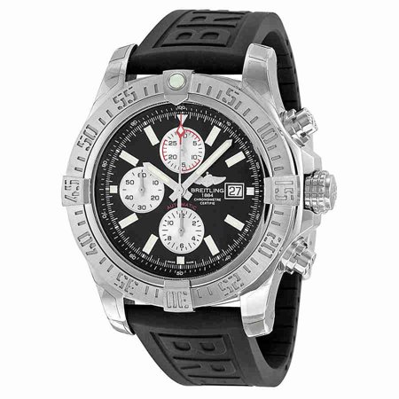 (Breitling Super Avenger II Automatic Chronograph Black Rubber Strap Mens Watch A1337111-BC29BKPD3)