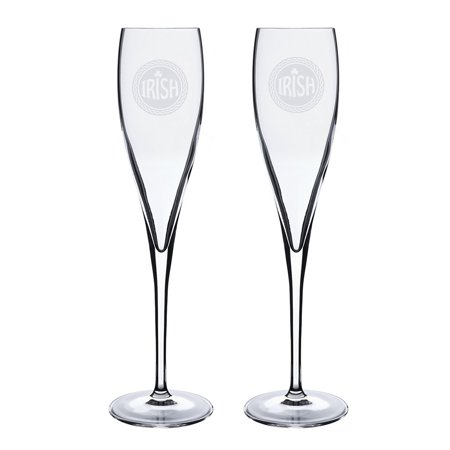 Irish Celtic Logo Deep Etched Luigi Bormioli 6 oz Titanium Toast Glass - Set of 2 ()