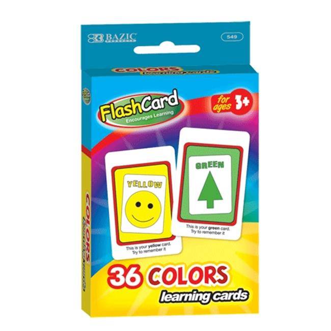 Bazic Products 549-24 BAZIC Colors Preschool Flash Cards 36-Pack Case of 24 by Bazic