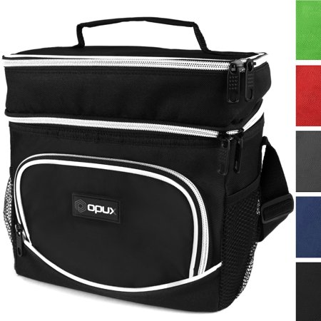 OPUX Insulated Dual Compartment Lunch Bag, Double Deck Lunch Box for Men, Women, Kids | Soft Leakproof Lunch Tote Cooler for Work, Office, School | Medium Reusable Lunch Pail, Fits 8 Cans