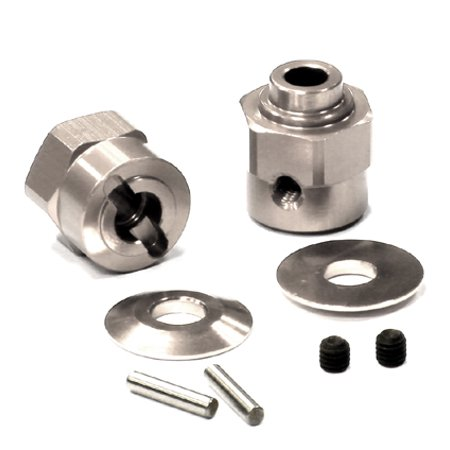 Integy RC Toy Model Hop-ups C24396SILVER Billet Machined Hex Wheel Hub Set (2) +5 Offset for Axial Wraith