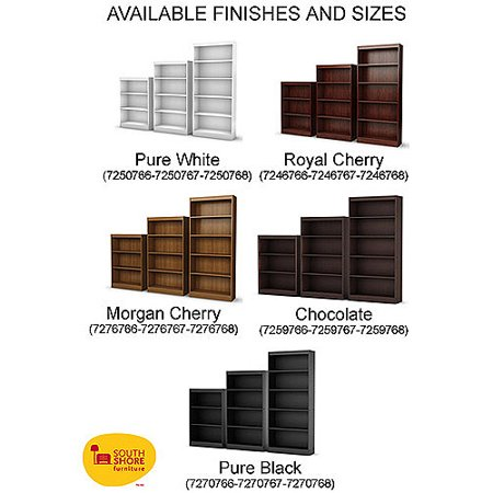 5-Shelf-Bookcase-Black-White-Gray-Brown-Storage-