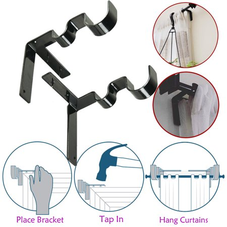 1 Pair Hang Curtain Rod Holders Tap Right Into Window Frame Curtain Rod (Pair Rod Curtain End Brackets)