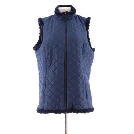 Denim & Co Reversible Zip Textured Quilted Vest A282681