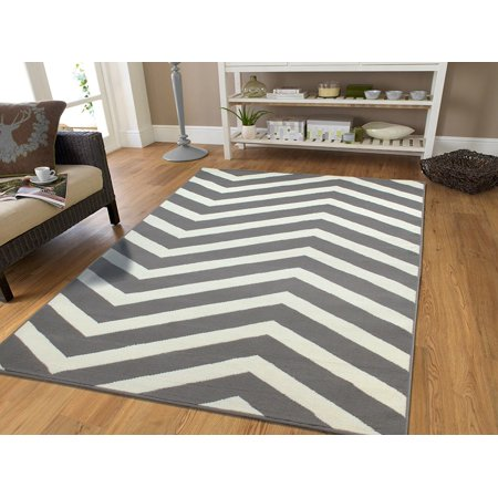 Large Chevron Rugs 8x11 Gray And White Area For Living Room Bedroom Office Rug