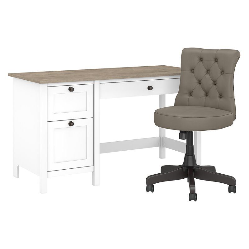 Bush Furniture Mayfield 54w Computer Desk With Drawers And Tufted Office Chair Walmart Com Walmart Com