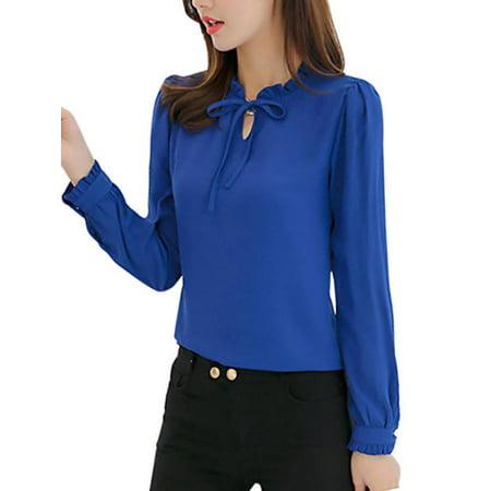 Lavaport Causal Women Lantern Sleeve OL Office Shirts Chiffon Formal (Womens Formal Shirts)