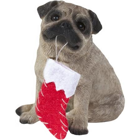 Pug Christmas Ornament - Sandicast Sitting Fawn Pug with Stocking Christmas Dog Ornament