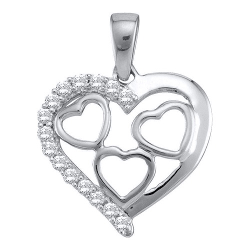 14K White Gold 0.18ctw Elegant Pave Diamond Fashion Multi Heart Pendant