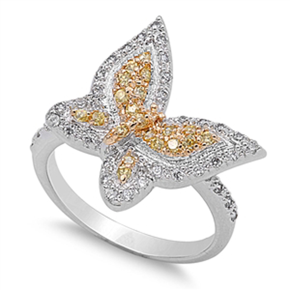 s butterfly yellow simulated cz promise ring sizes