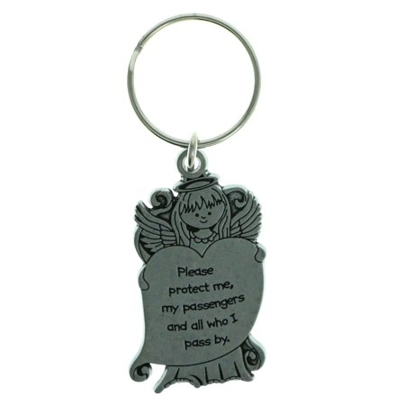 Pewter Driver Guardian Angel Inspirational Saying - Pewter Guardian Angel Key Ring