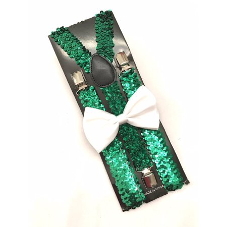 Christmas Xmas Green Sequin Suspenders and White Bowtie Set Adult - Green Suspenders