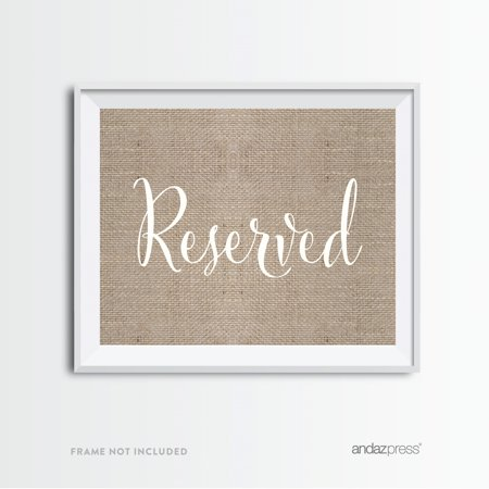 Reserved Burlap Wedding Party Signs