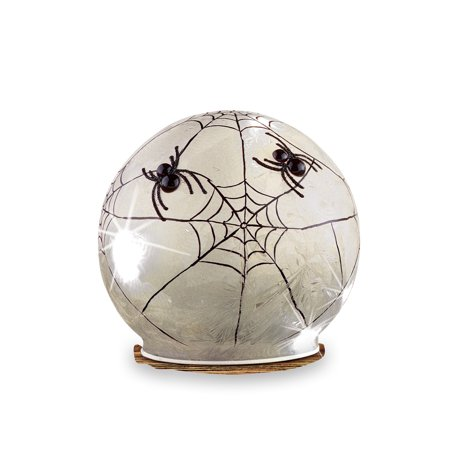 Lighted Spider Web Glass Ball Halloween Decorations are Perfect Atop a Table, Shelf or Mantel, Small (Spider Web In Glass)