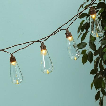 Patio Bistro Lights Globe String Solar Ed Edison Leds 6 Ft Timer Warm White