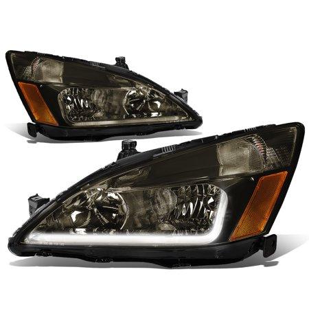 Corner Lights Lens - For 03-07 Honda Accord 7th Gen UC1 Pair of Smoked Lens Amber Corner Headlights + LED DRL 04 05 06