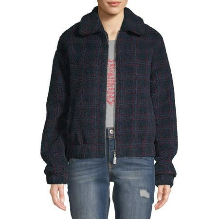 EV1 from Ellen DeGeneres Plaid Printed Sherpa Jacket Women's Plaid Print Vest