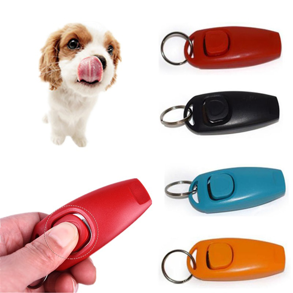 Girl12Queen 2 in 1 Mini Plastic Pet Dog Cat Clicker Whistle Trainer Aid Tools with Keyring