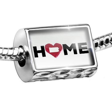 Bead Home with State Heart Shape Pennsylvania Charm Fits All European Bracelets