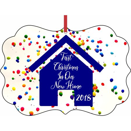 Ornament New Home First Christmas In Our New Home 2018 Balloons Design Elegant Aluminum SemiGloss Christmas Ornament Tree Decoration - Unique Modern Novelty Tree Décor Favors](Unique Christmas Tree Decorations)