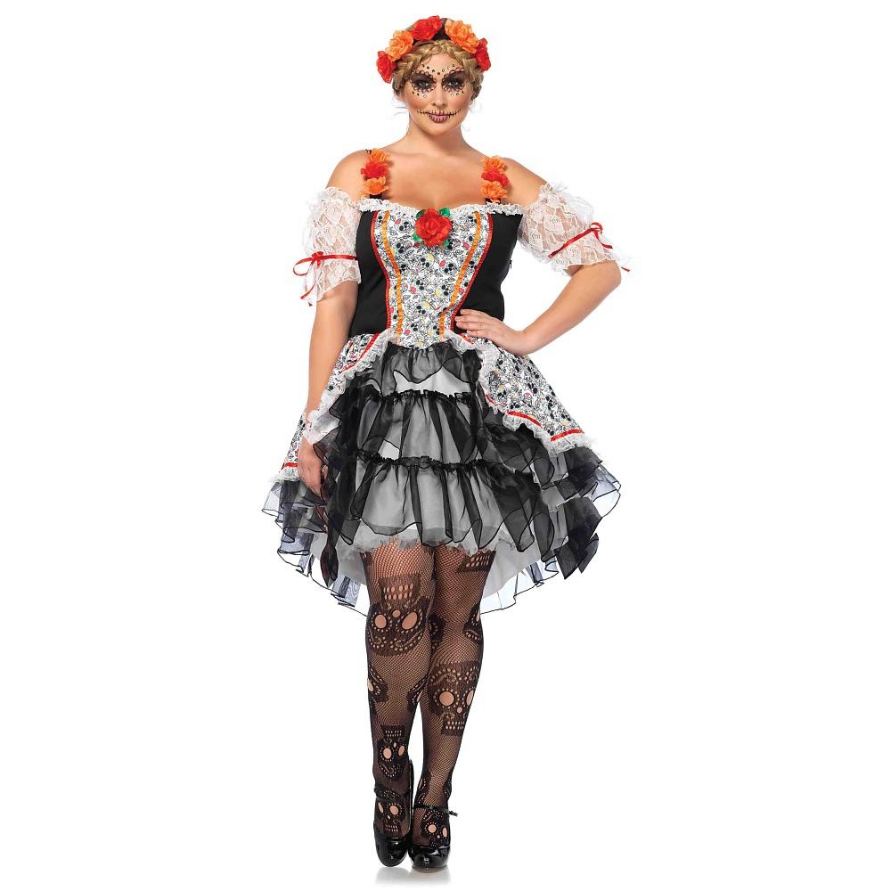 leg avenue women's plus size lovely calavera costume, multi, 1x-2x