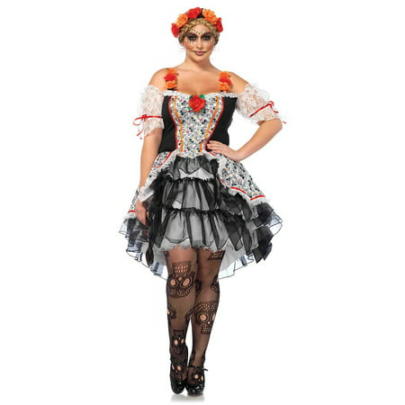 Leg Avenue Women's Plus Size Day of the Dead Sugar Skull Costume - Diy Cupid Costume