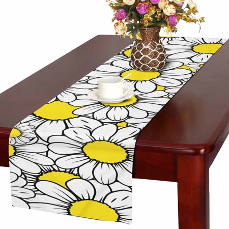MKHERT Daisy Field Table Runner For Wedding Party Decoration Kitchen Decor Decoration 14x72 inch