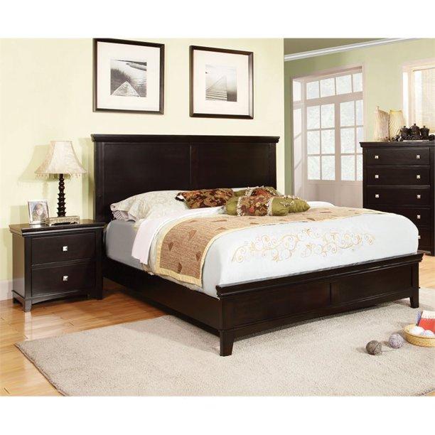 Foa Brighton 2pc Espresso Solid Wood Bedroom Set Queen Nightstand Walmart Com Walmart Com