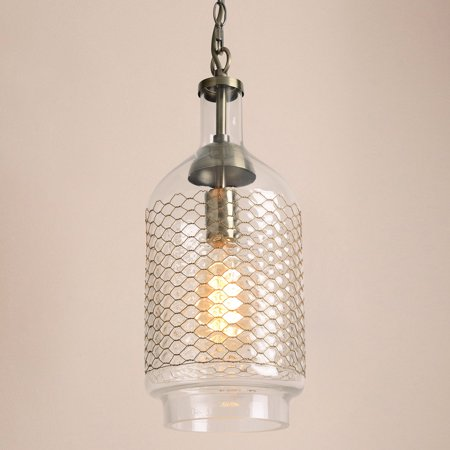 CASAMOTION Industrial Edison Hand Blown Glass Pendant Light-Brass Wire, Clear-M