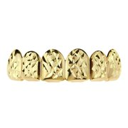 14k Gold Plated Grillz Diamond-Cut Bling Grill Top Upper Six 6 Teeth Hip Hop Mouth Grills