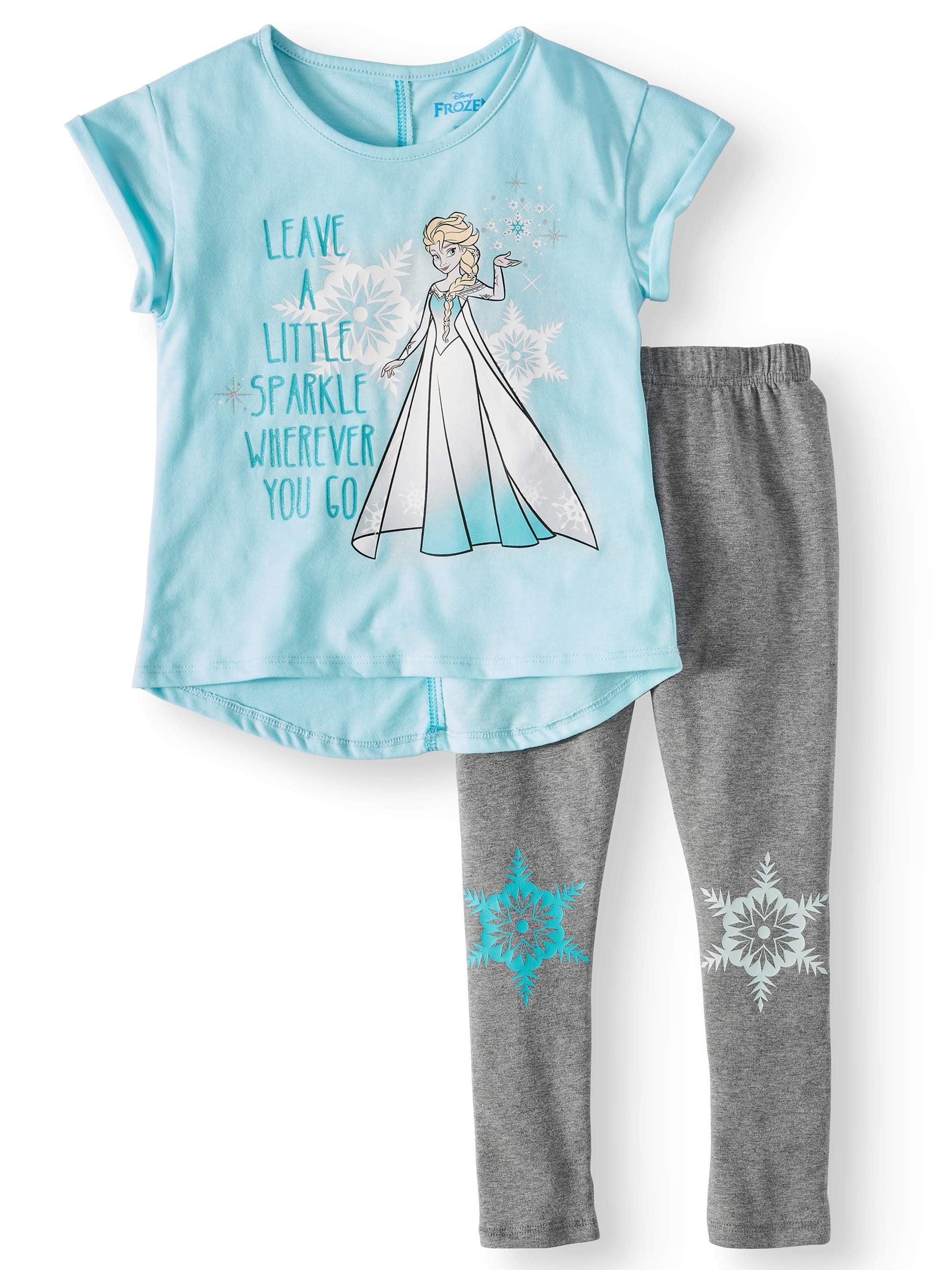 Elsa Sparkle Graphic T-Shirt Capri Legging, 2-Piece Outfit Set (Little Girls)