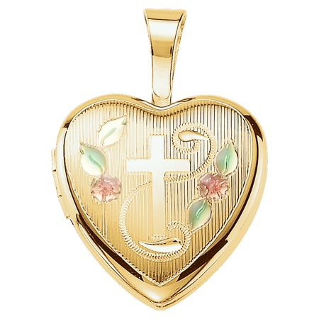 14K Yellow Gold-Plated Sterling Silver Cross Heart Locket with Epoxy (1.4 gram) (Grams Lockets)