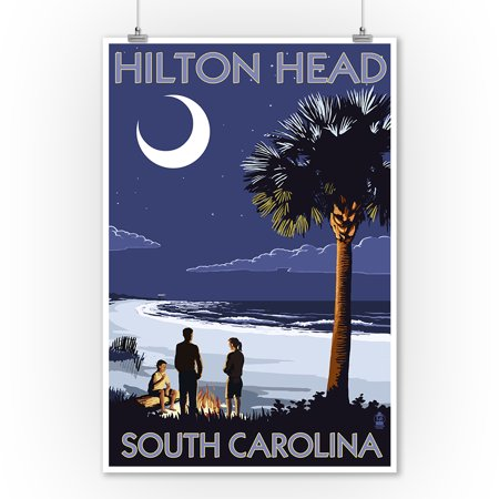 Hilton Head, South Carolina - Beach & Bonfire - Lantern Press Artwork (9x12 Art Print, Wall Decor Travel - Beach Bonfire Ideas