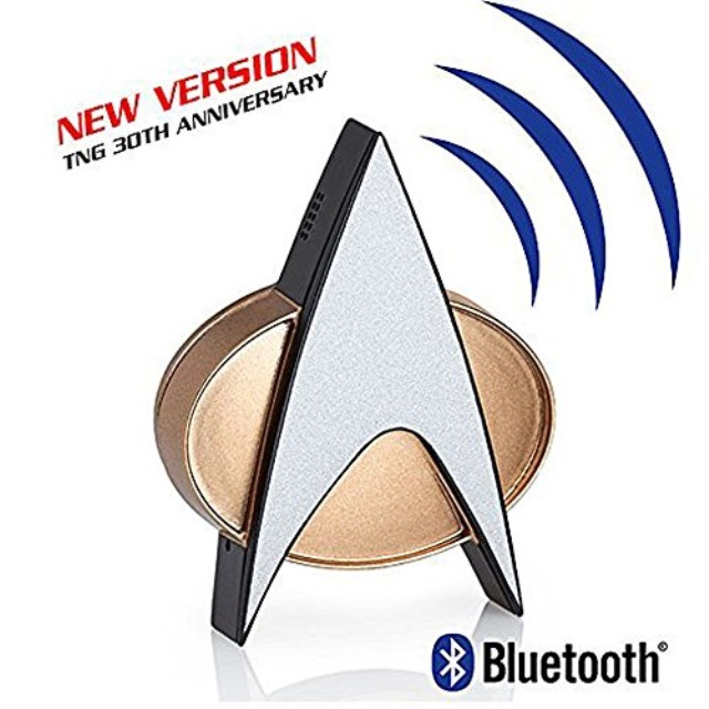 Star Trek Next Generation Bluetooth Communicator Badge TNG Combadge with Chirp Sound Effects Microphone and... by FameTek