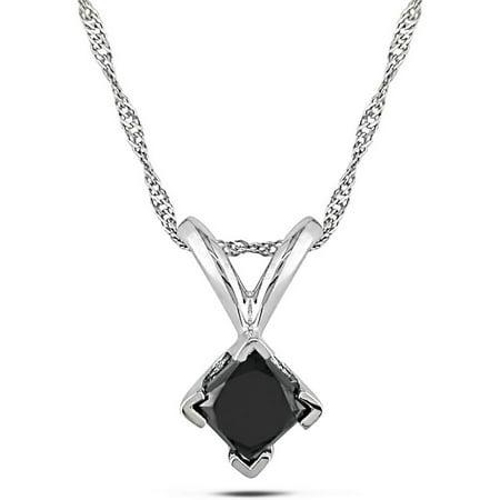 1/2 Carat T.W. Black Diamond Princess-Cut 14kt White Gold Solitaire Women's Pendant Necklace, 17 1/2 Carat Diamond 14k